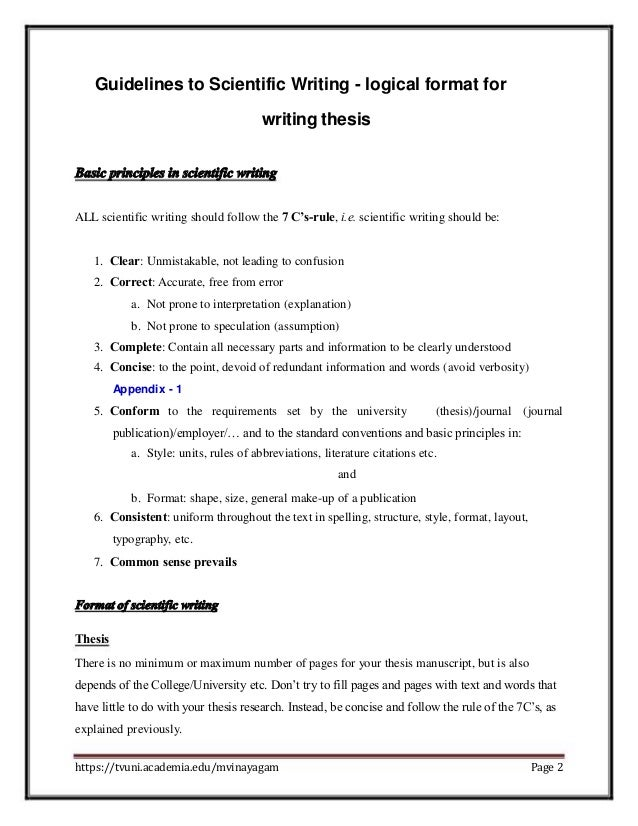 What format to use when writing a scientific essay
