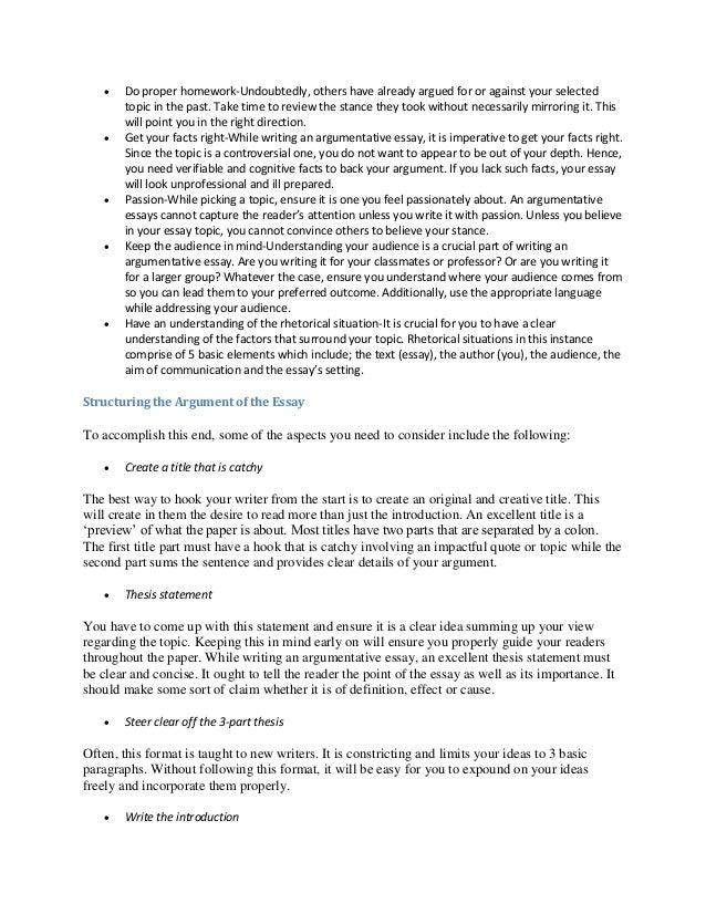 proper structure of an argumentative essay