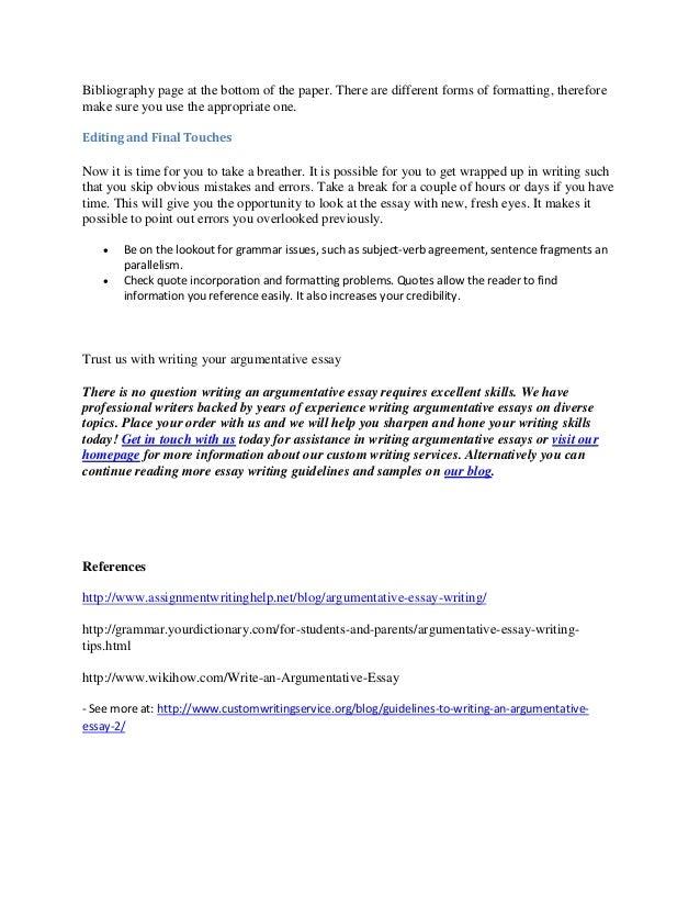 Outline for a argumentative essay easy