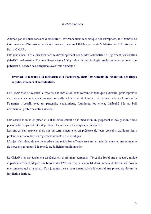 Guide m diation arbitrale for Chambre arbitrale