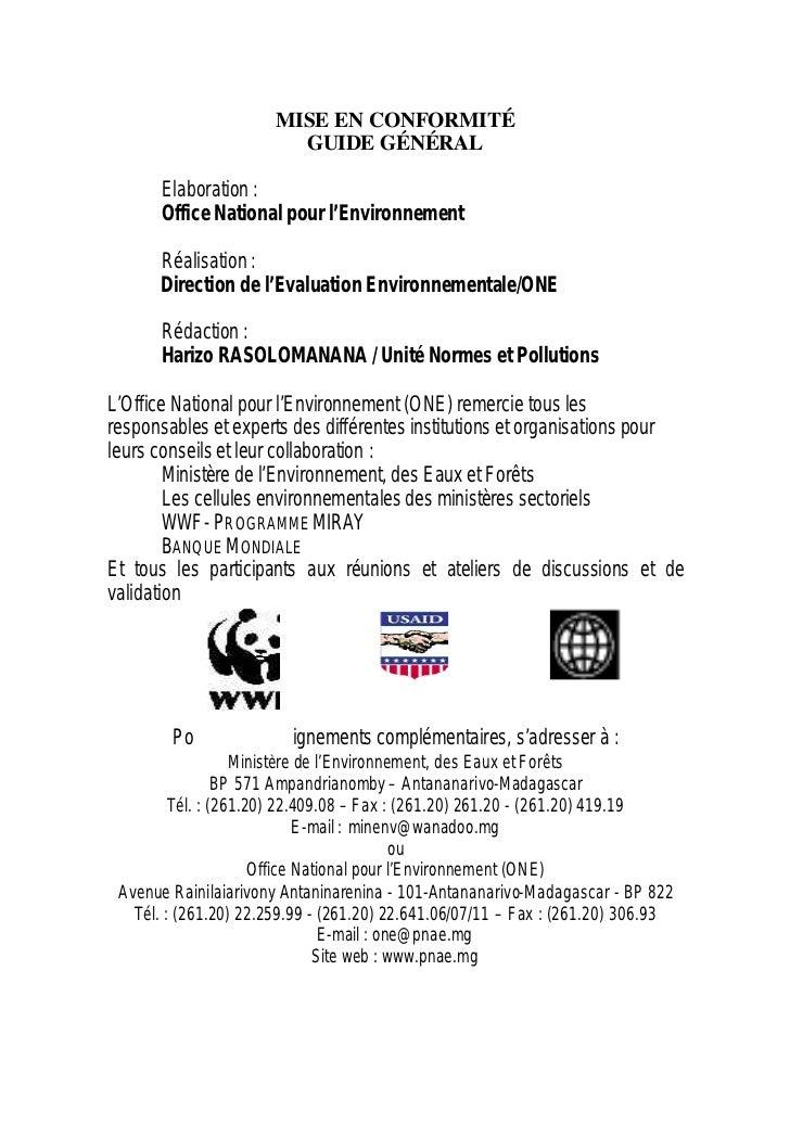 MISE EN CONFORMITÉ                         GUIDE GÉNÉRAL      Elaboration :      Office National pour l'Environnement     ...