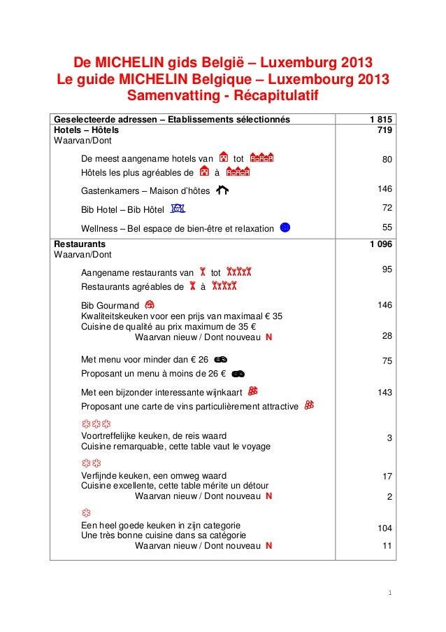 De MICHELIN gids België – Luxemburg 2013Le guide MICHELIN Belgique – Luxembourg 2013          Samenvatting - Récapitulatif...