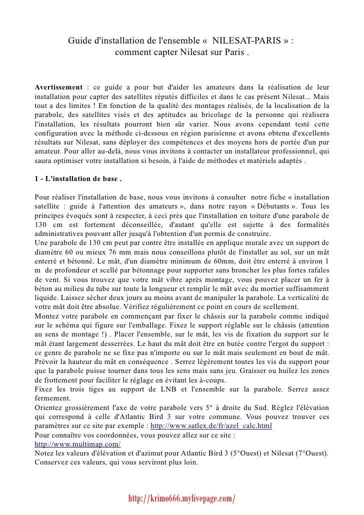 Guide Nilesat Paris