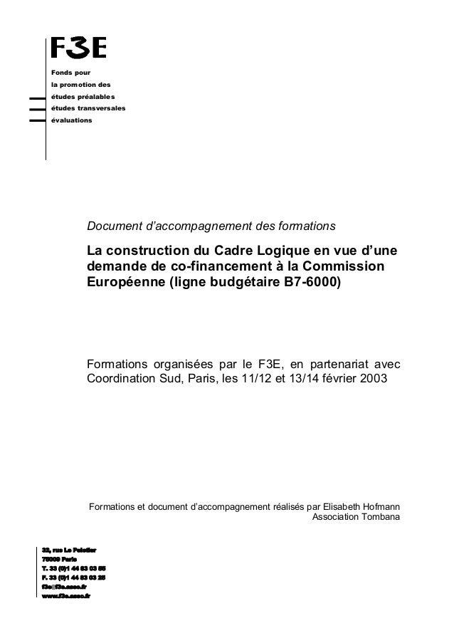 Fonds pour la promotion des études préalables études transversales évaluations Document d'accompagnement des formations La...