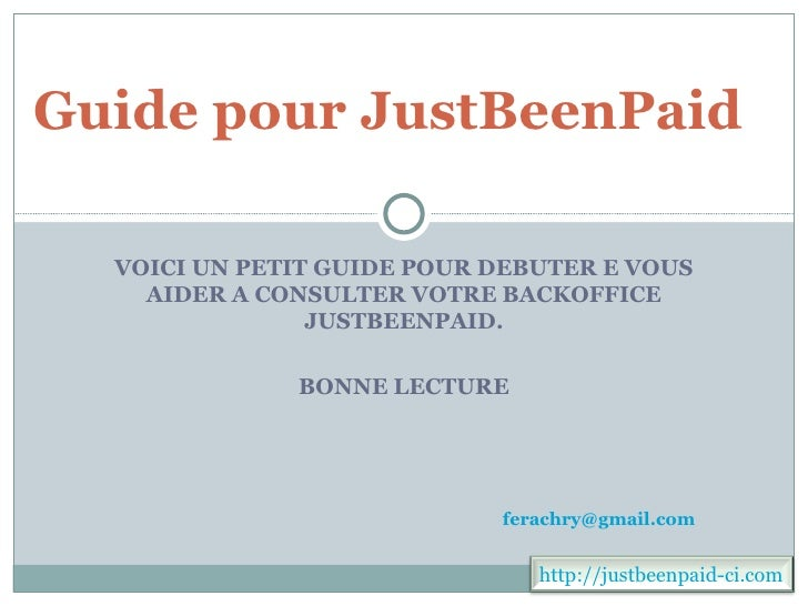 Guide pour just beenpaid ci