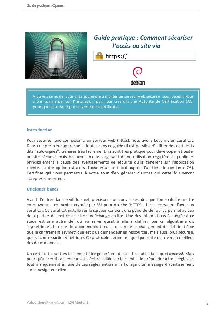 Guide pratique : Openssl                                          Guidepratique:Commentsécuriser                     ...