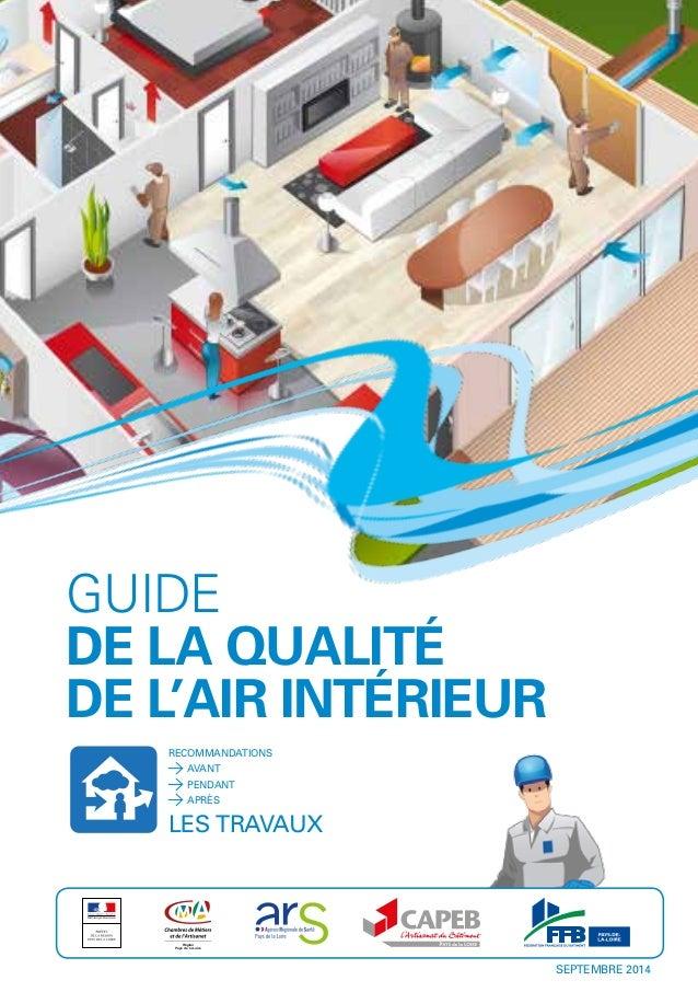 GUIDE DE LA QUALITÉ DE L'AIR INTÉRIEUR RECOMMANDATIONS LES TRAVAUX AVANT PENDANT APRÈS Région Pays de la Loire SEPTEMBRE 2...