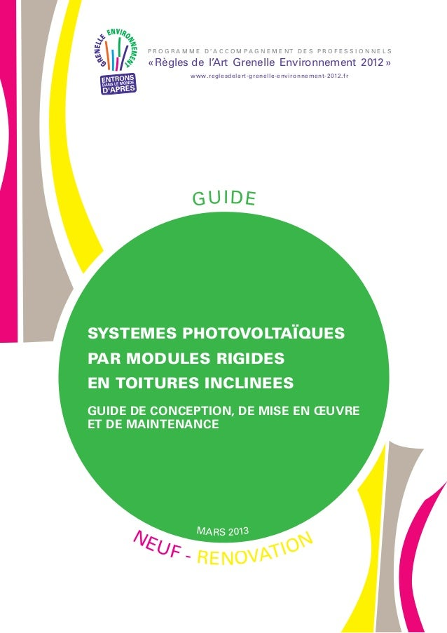 Guide RAGE Systemes Photovoltaiques pour toitures inclinees 2013-03