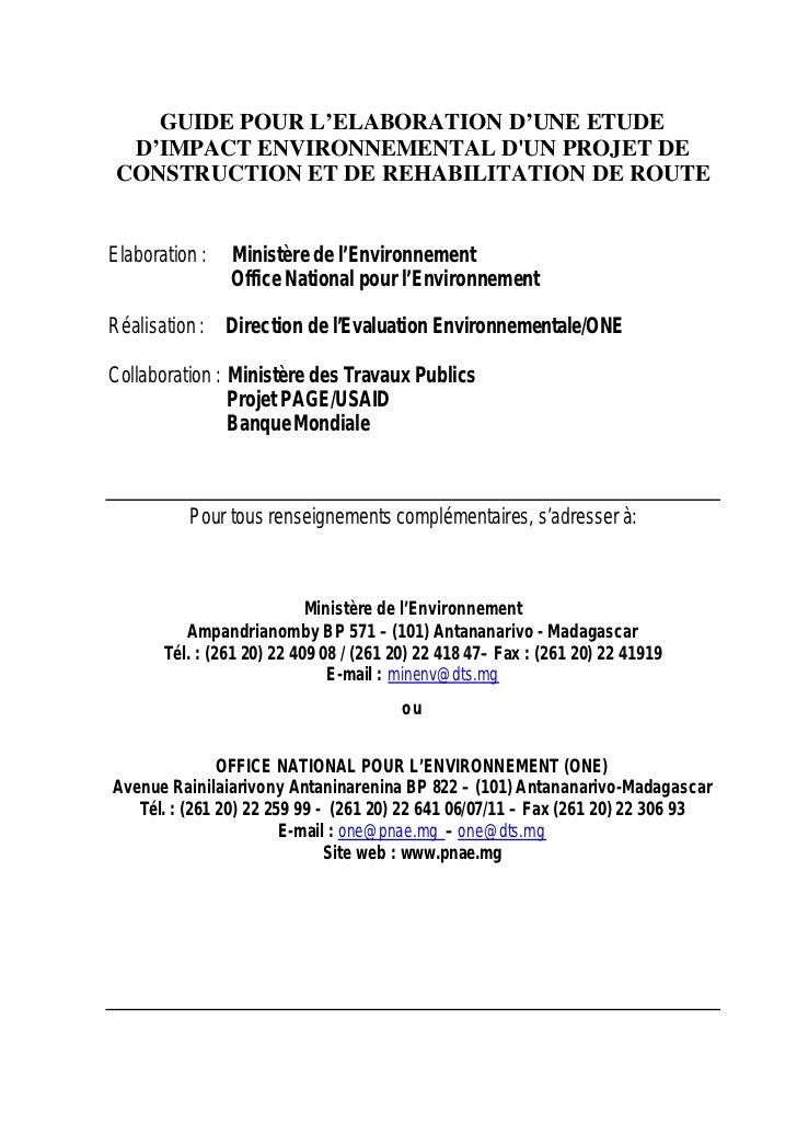GUIDE POUR L'ELABORATION D'UNE ETUDE D'IMPACT ENVIRONNEMENTAL DUN PROJET DECONSTRUCTION ET DE REHABILITATION DE ROUTEElabo...