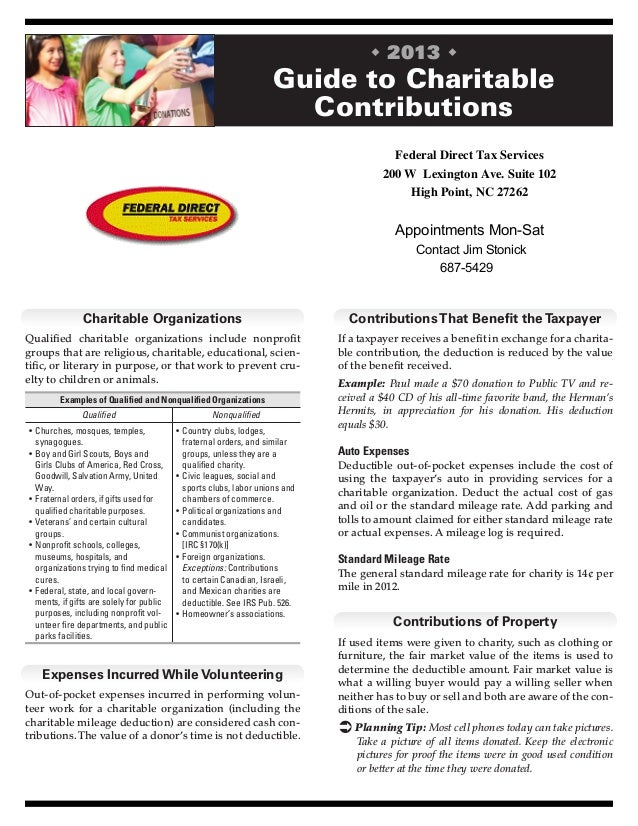 Guide to Charitable Contributions