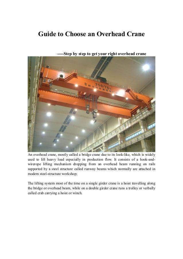 Guide to choose an overhead crane