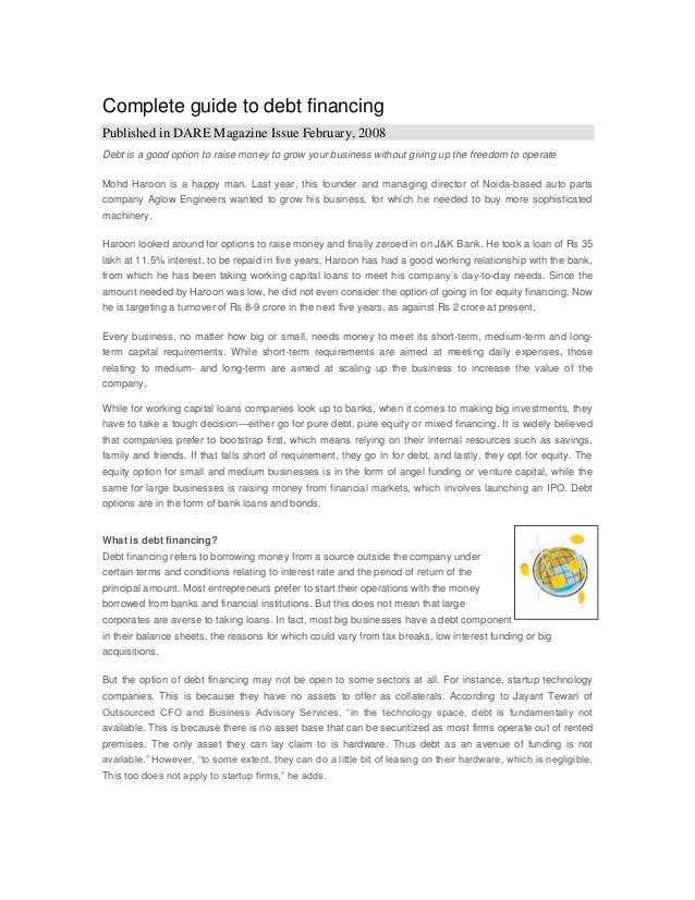 Guide to debt financing   dare