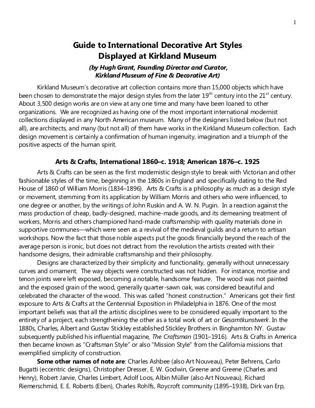 1Guide to International Decorative Art StylesDisplayed at Kirkland Museum(by Hugh Grant, Founding Director and Curator,Kir...