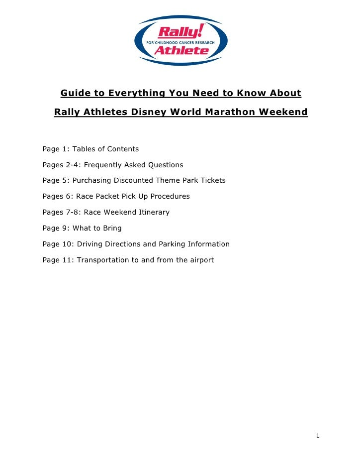 Guide to Everything You Need to Know About     Rally Athletes Disney World Marathon Weekend   Page 1: Tables of Contents  ...