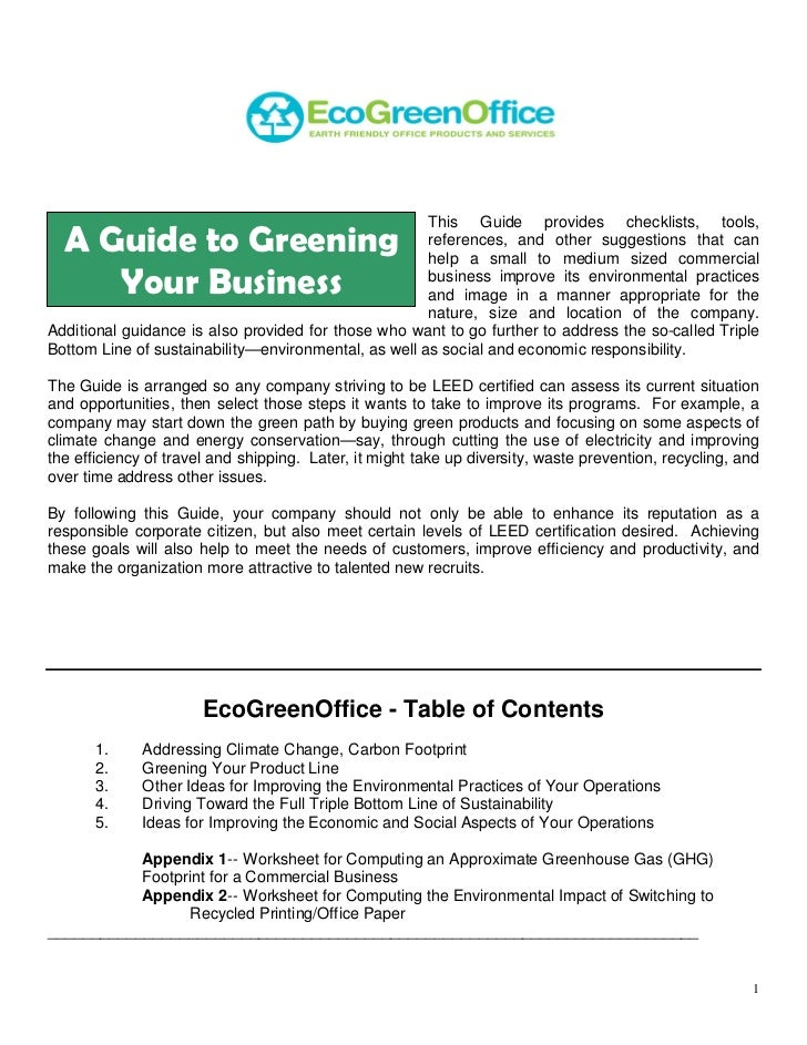 EcoGreenOffice Guide To Greening Business