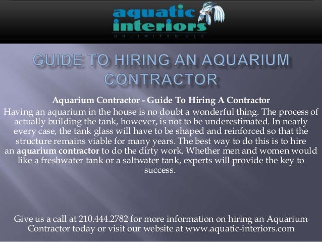 Guide To Hiring An Aquarium Contractor