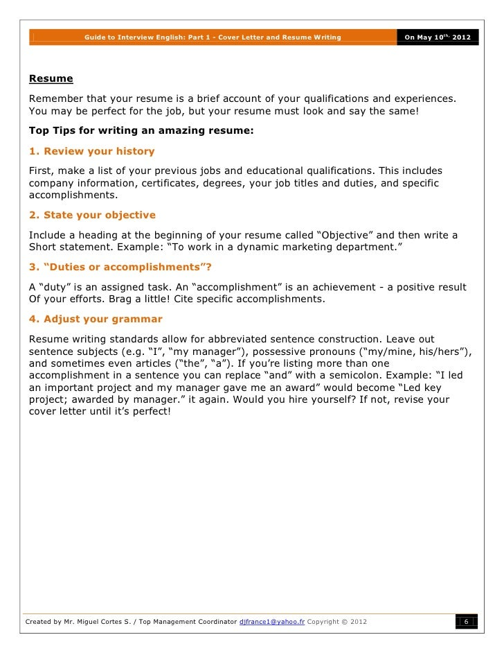 guide to part 1 cover letter and resume