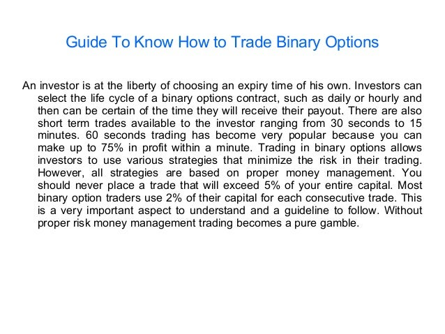 Binary options trading dangers