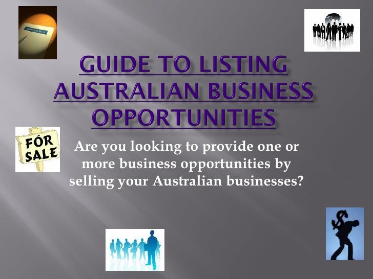 Guide To Listing Australian Business Opportunities