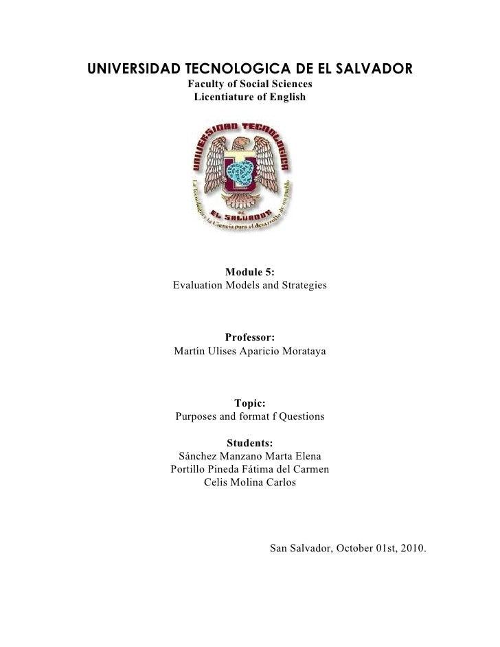 UNIVERSIDAD TECNOLOGICA DE EL SALVADOR              Faculty of Social Sciences               Licentiature of English      ...
