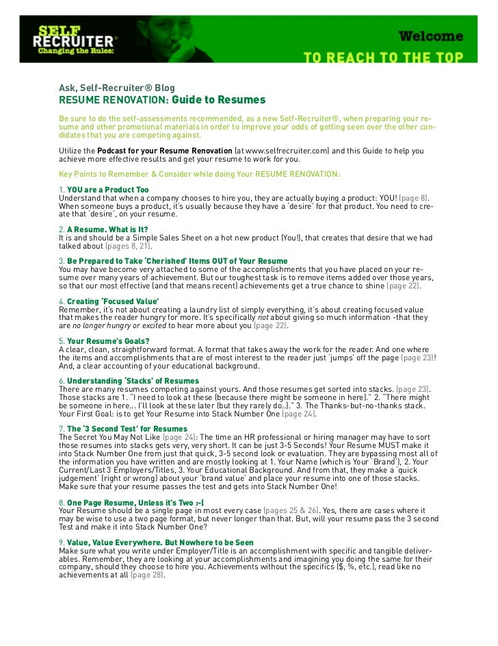 Guide To Resumes
