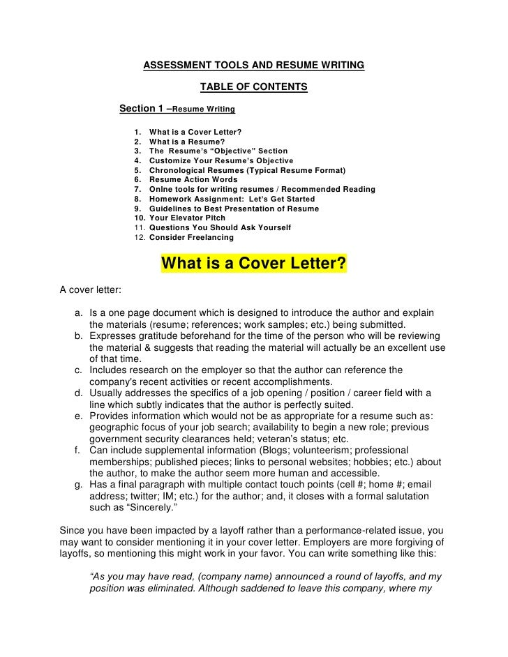 ASSESSMENT TOOLS AND RESUME WRITING                                     TABLE OF CONTENTS                Section 1 –Resume...