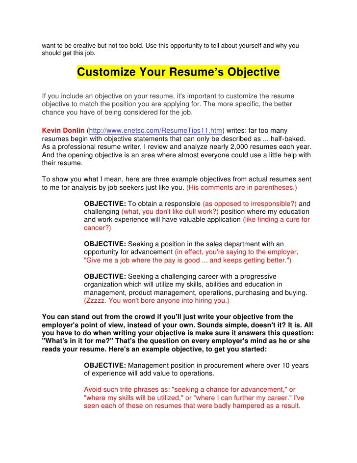what does the objective mean in a resume