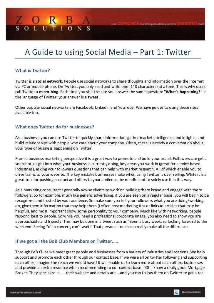 A Guide to using Social Media – Part 1: TwitterWhat is Twitter?Twitter is a social network. People use social networks to ...