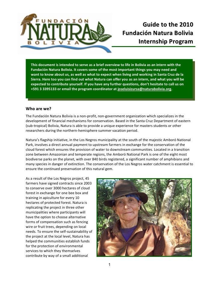 Guide to the 2010                                                             Fundación Natura Bolivia                    ...