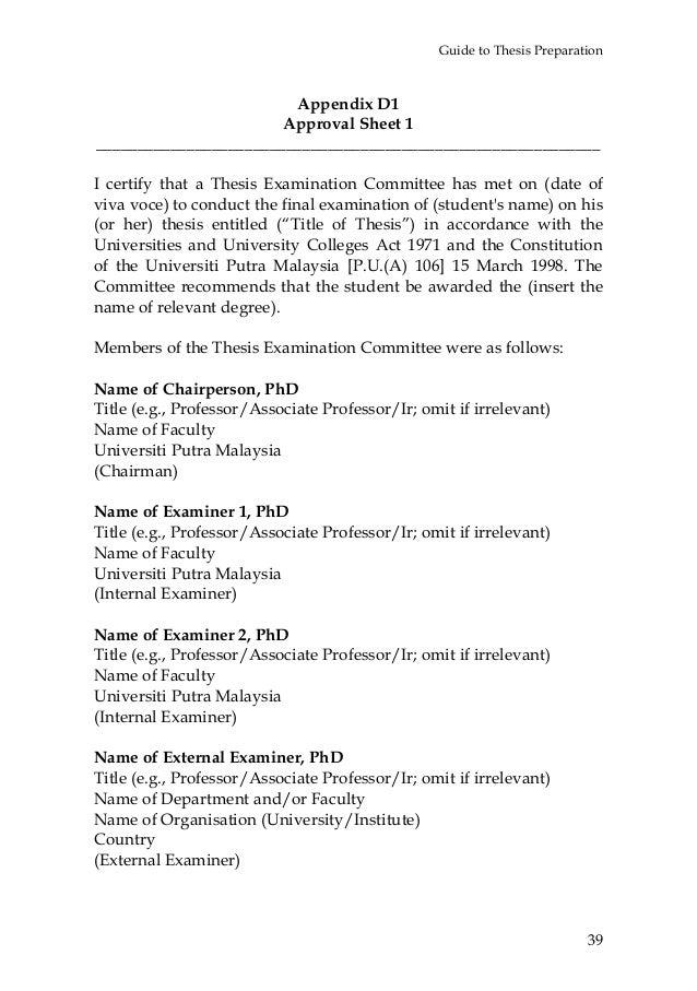 Dissertation appendix layout