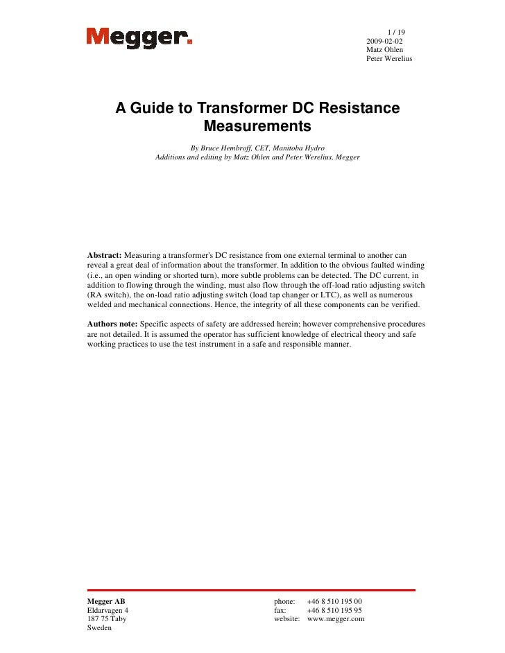 Guide to transformer resistance testing