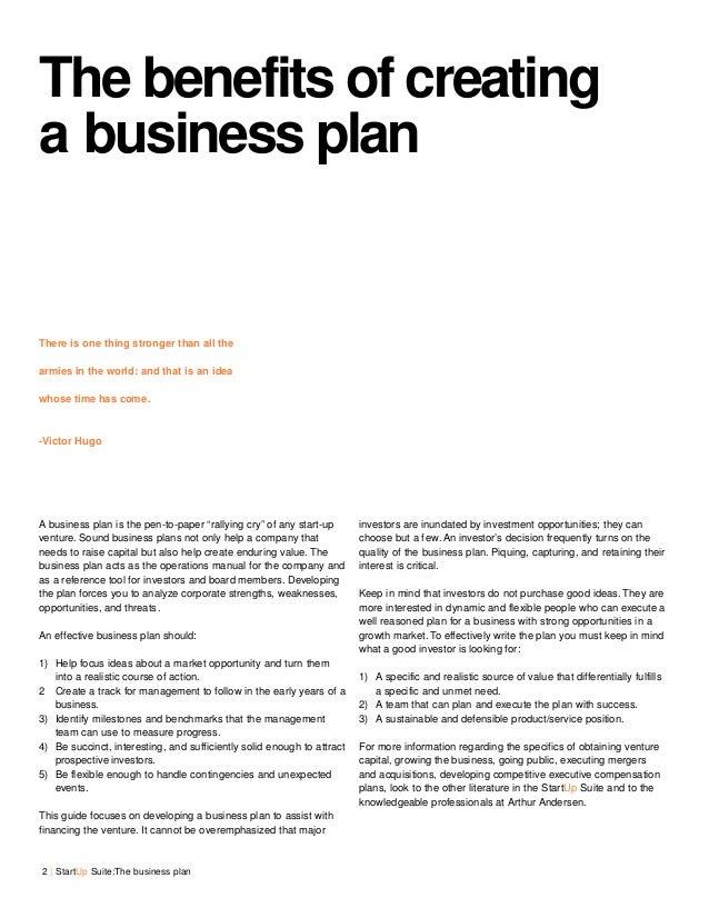 Benefits of preparing a business plan