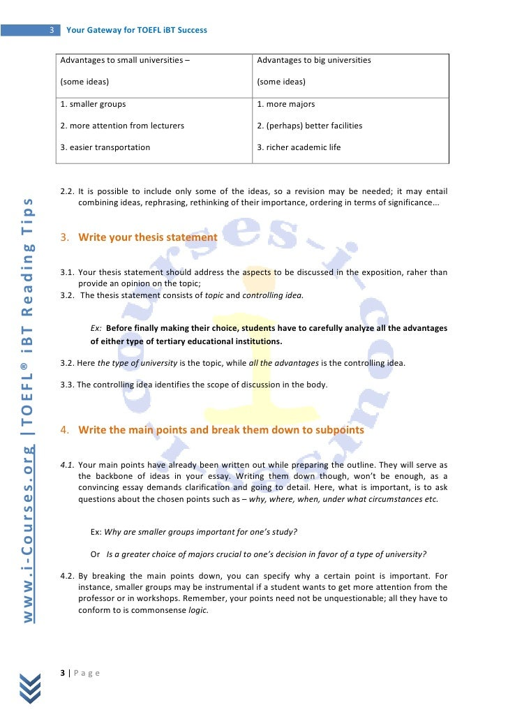 independent essay toefl structure