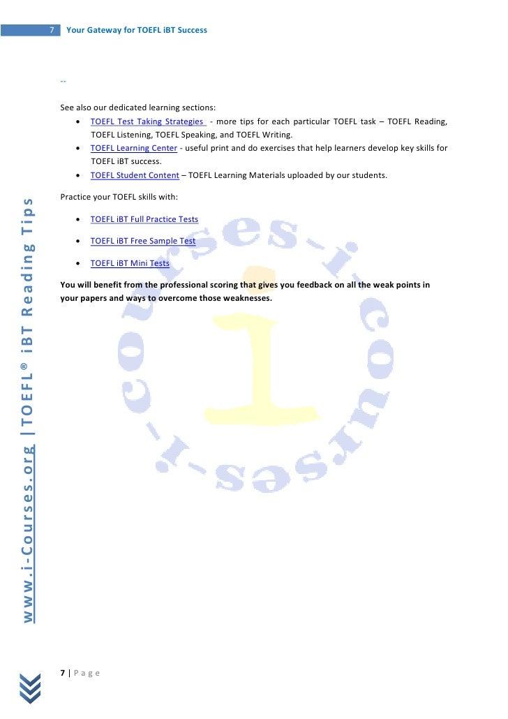 Free TOEFL Essay Samples