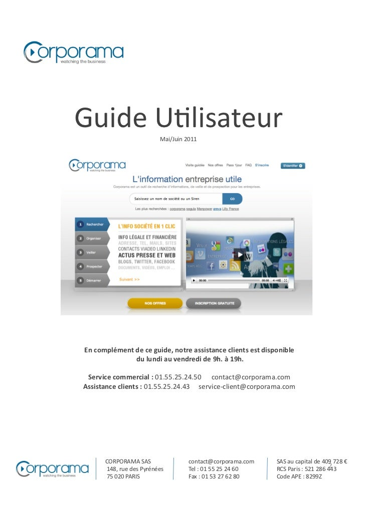 Guide U(lisateur                      Mai/Juin 2011  En complément de ce guide, notre assistance cli...