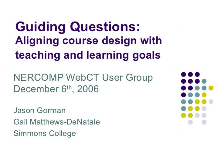 Guiding Questions: Aligning Course Design with Teaching and Learning Goals