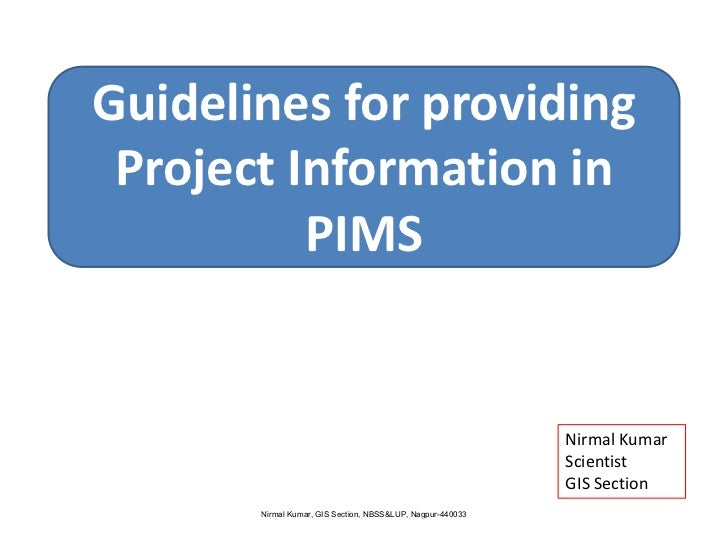 Guidlines for filling project information in pims