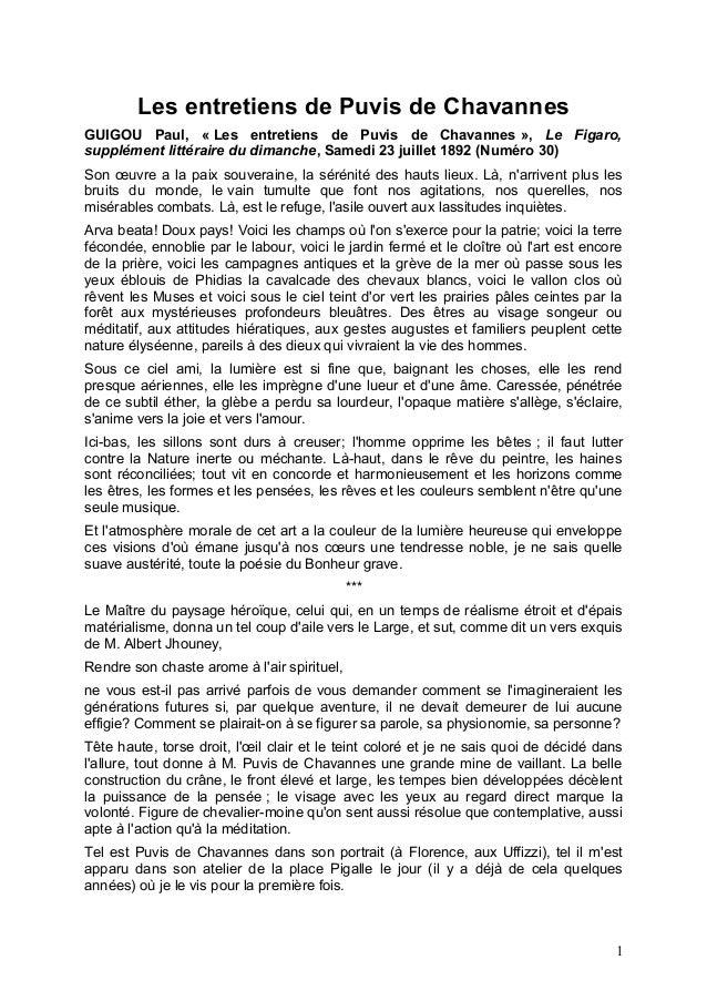 Les entretiens de Puvis de Chavannes GUIGOU Paul, « Les entretiens de Puvis de Chavannes », Le Figaro, supplément littérai...