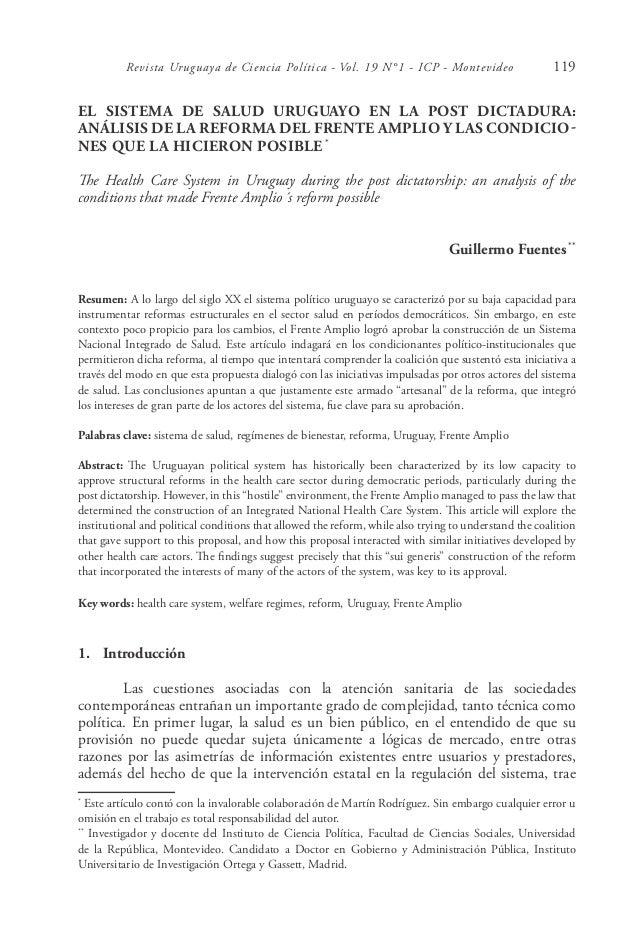 Revista Uruguaya de Ciencia Política - Vol. 19 N°1 - ICP - Montevideo                         119EL SISTEMA DE SALUD URUGU...