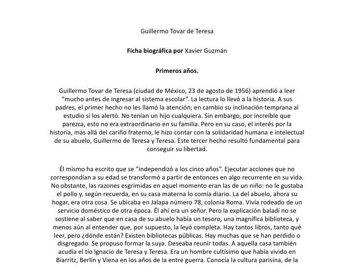 Guillermo Tovar de Teresa                            Ficha biográfica por Xavier Guzmán                                   ...