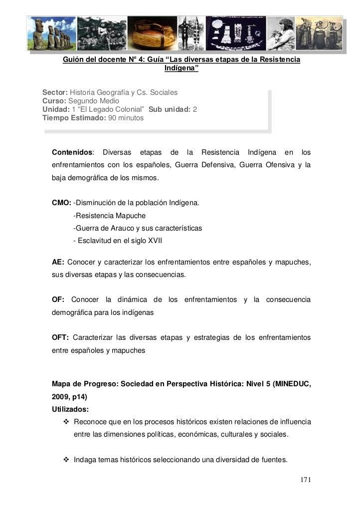 """Guión del docente N° 4: Guía """"Las diversas etapas de la Resistencia                                  Indígena""""Sector: Hist..."""