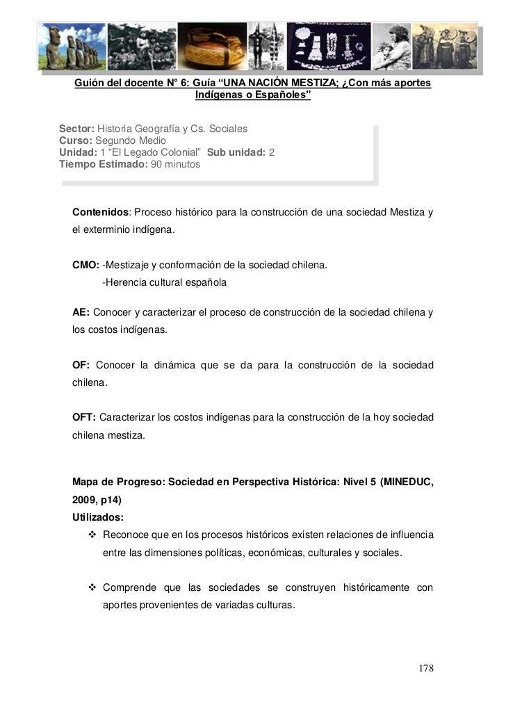 """Guión del docente N° 6: Guía """"UNA NACIÓN MESTIZA; ¿Con más ap"""