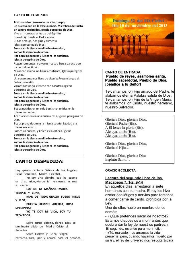 Guión de la Eucaristía del domingo XXXII del To. Ciclo C. Dia 10 de noviembre del 2013