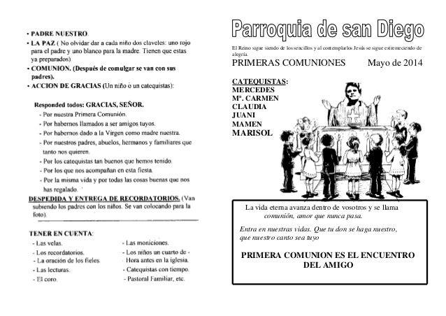 GUIÓN PARA LA MISA DE LAS PRIMERAS COMUNIONES DEL 2014