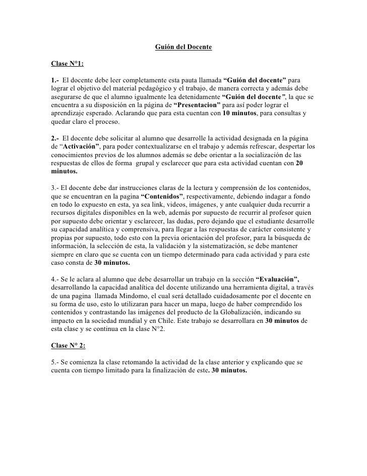 """Guión del Docente  Clase N°1:  1.- El docente debe leer completamente esta pauta llamada """"Guión del docente"""" para lograr e..."""