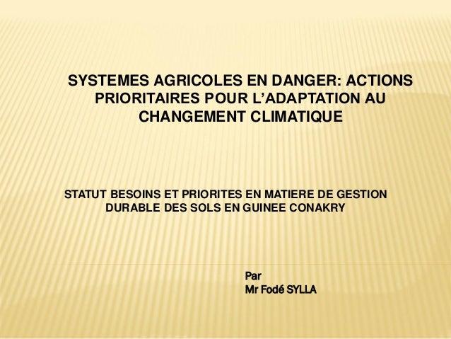 SYSTEMES AGRICOLES EN DANGER: ACTIONS PRIORITAIRES POUR L'ADAPTATION AU CHANGEMENT CLIMATIQUE STATUT BESOINS ET PRIORITES ...