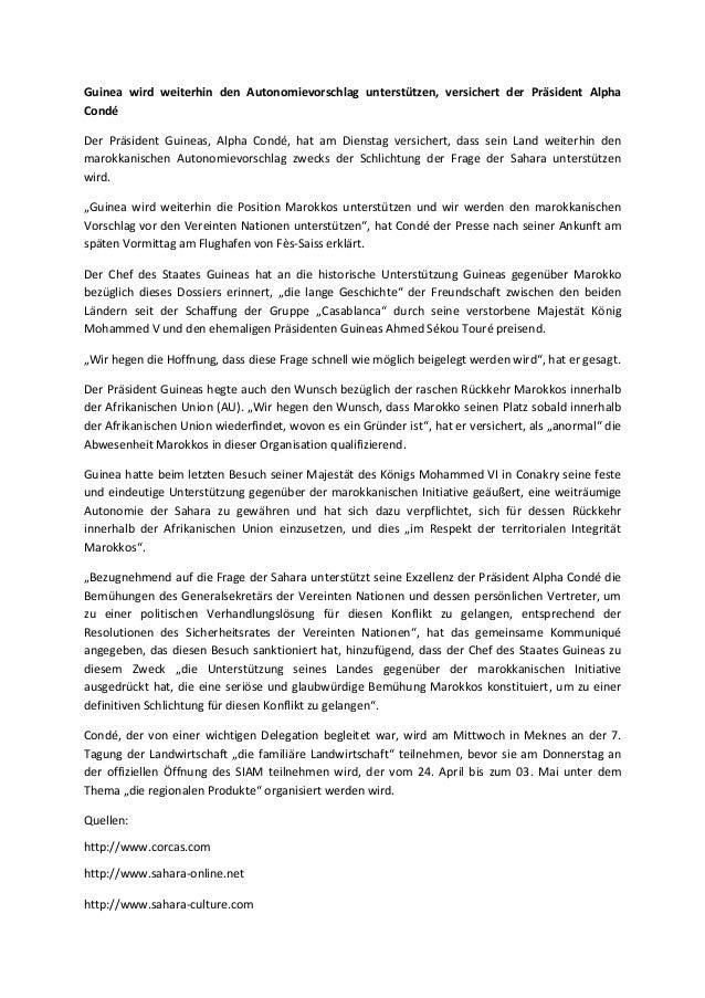 Guinea wird weiterhin den Autonomievorschlag unterstützen, versichert der Präsident Alpha Condé Der Präsident Guineas, Alp...