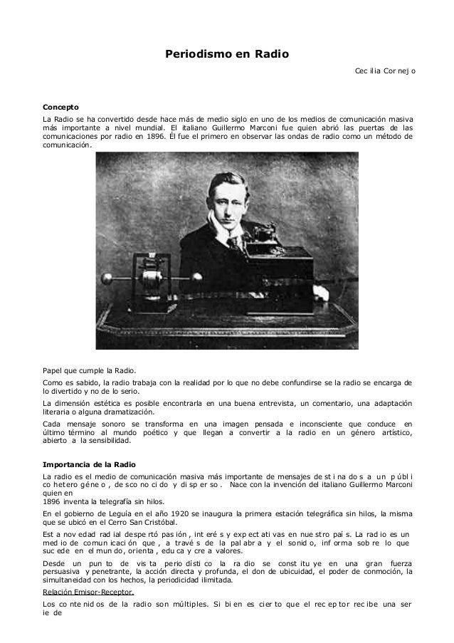Periodismo en RadioCec ilia Cor nej oConceptoLa Radio se ha convertido desde hace más de medio siglo en uno de los medios ...