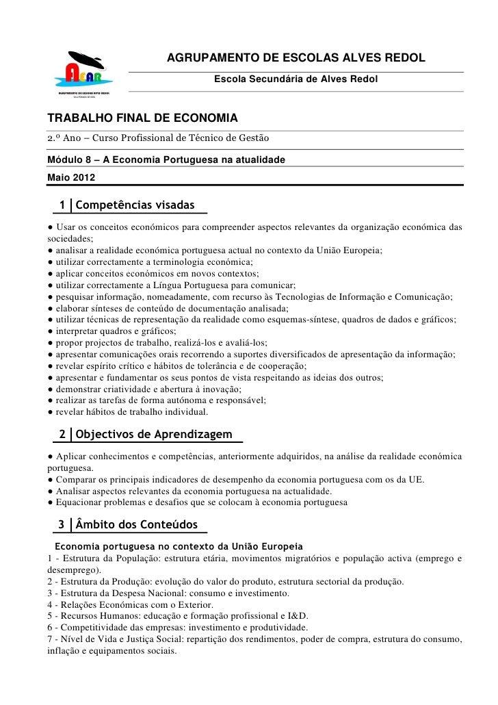 AGRUPAMENTO DE ESCOLAS ALVES REDOL                                        Escola Secundária de Alves RedolTRABALHO FINAL D...