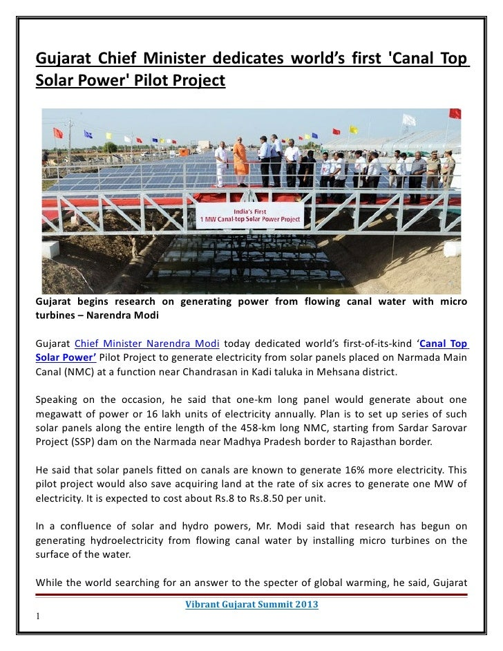 Gujarat chief minister dedicates worlds first canal top solar power pilot project